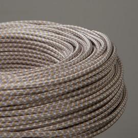 Câble textile pied-de-poule 3 couleurs or - Falbala luminaires