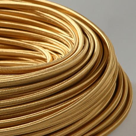 Câble textile plat 2x0.75mm² vieil or - Falbala luminaires