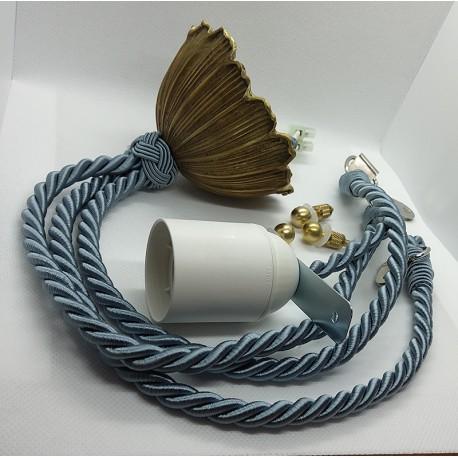 Cordelière bleue et bronze pour lustre Art Déco - Falbala Luminaires
