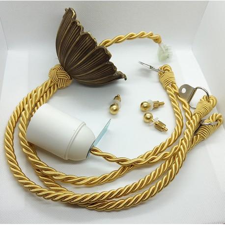 Cordelière ivoire et bronze pour lustre Art Déco - Falbala Luminaires