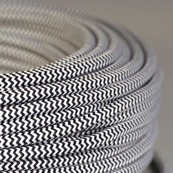 cable textile tigre noir et blanc pour deco et design lumiere. Black Bedroom Furniture Sets. Home Design Ideas