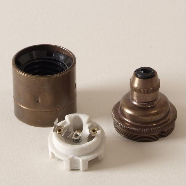 Douille e27 laiton vieilli avec serre cable black bedroom for Interrupteur porcelaine castorama