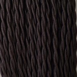 Câble textile torsadé 2x0.50mm² noir - Falbala-luminaires