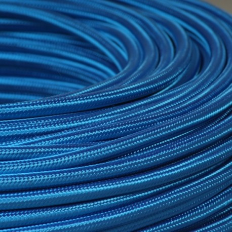 Câble textile bleu roi 2x0.75mm² - Falbala-luminaires