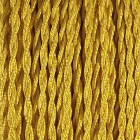 Câble textile torsadé 2x0.75mm² citron - Falbala-luminaires