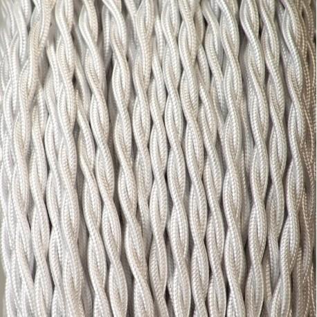 Câble textile torsadé 2x0.75mm² blanc - Falbala-luminaires