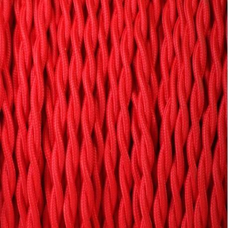 Câble textile torsadé 2x0.75mm² rouge - Falbala-luminaires