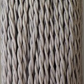 Câble textile torsadé 2x0.50mm² argent - Falbala-luminaires