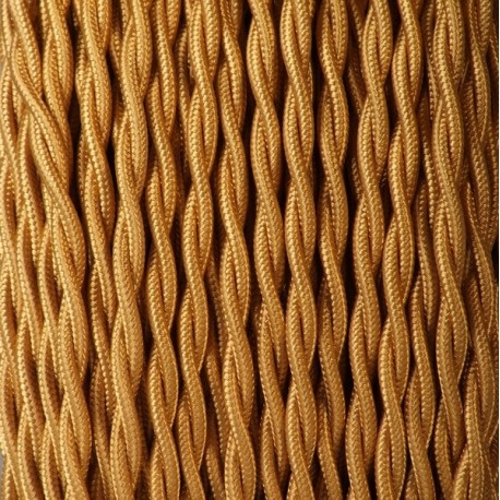 Câble textile torsadé 2x0.50mm² or- Falbala-luminaires
