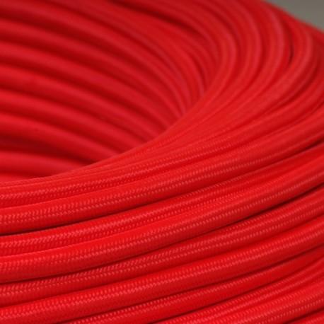 Câble textile rouge 3x0.75mm² - Falbala-luminaires