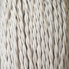 CABLE TEXTILE TORSADE 2X0.50mm² BLANC