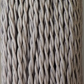 Câble textile torsadé 2x0.75mm² argent - Falbala-luminaires