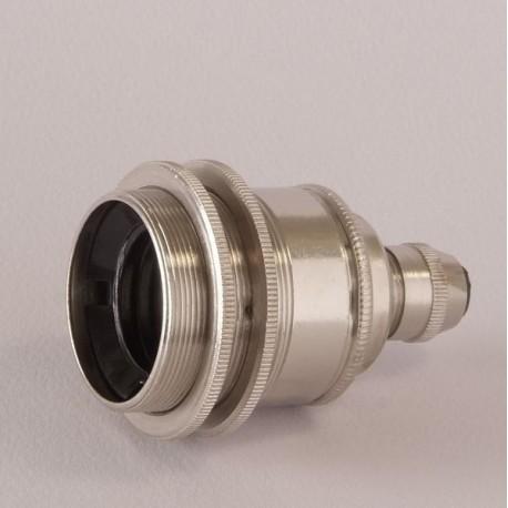 Douille E27 filetée nickel avec serre cable - Falbala Luminaires