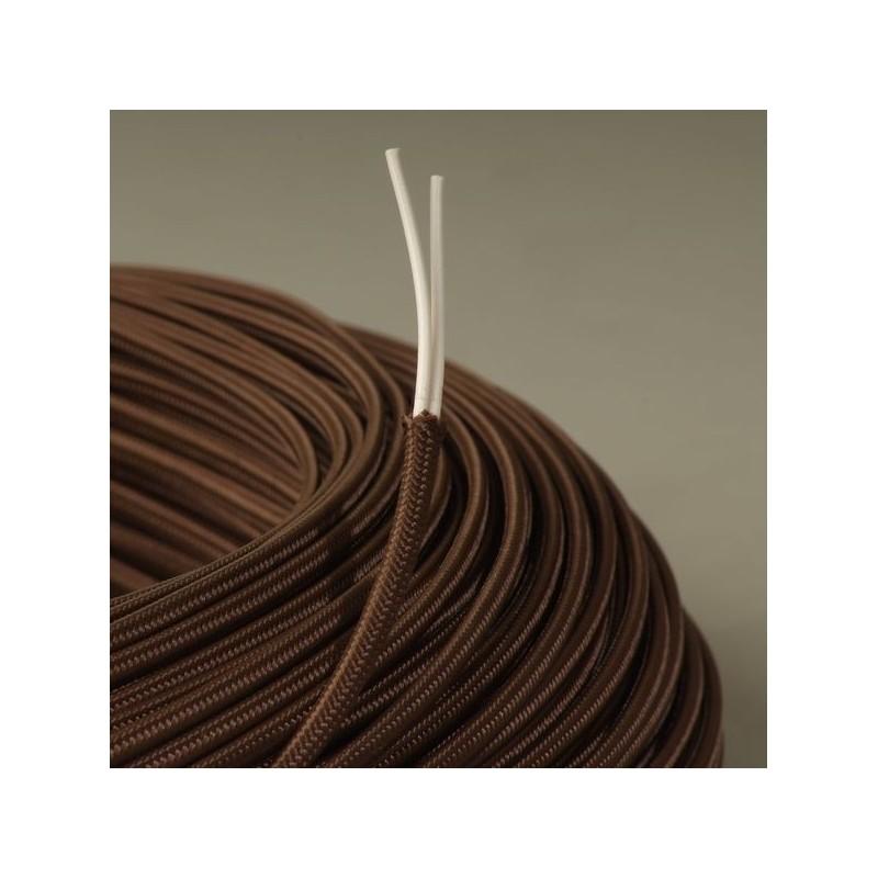 Cable textile plat marron - Cable electrique plat ...