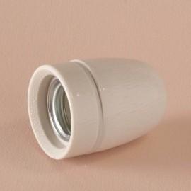 Douille E27 porcelaine avec terre