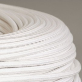 Câble textile coton blanc 2x0.75mm² - Falbala-luminaires