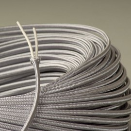 Câble lustrerie textile plat argent 2x0.35mm² - Falbala-luminaires