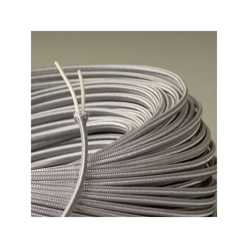 Cable textile plat argent - Cable electrique plat ...