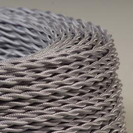 Câble lustrerie textile torsadé argent 2x0.35mm² - Falbala-luminaires
