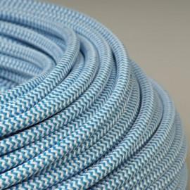 Câble textile tigré bleu et blanc