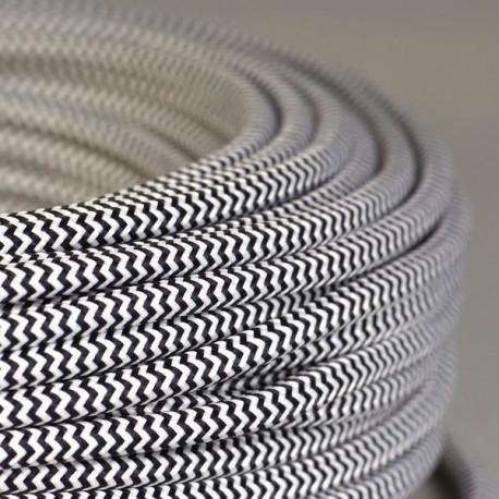 Câble textile tigré noir et blanc - Falbala-luminaires