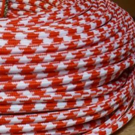 Câble textile pied-de-poule rouge et blanc