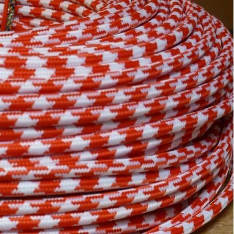 Câble textile pied-de-poule rouge et blanc - Falbala luminaires