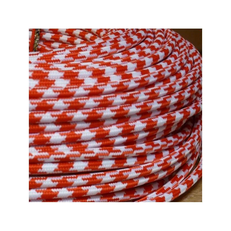 Cable textile pied de poule rouge et blanc - Cable blanc rouge jaune ...