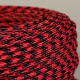 Câble textile pied-de-poule noir et rouge