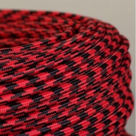 cable textile pied de poule noir et rouge. Black Bedroom Furniture Sets. Home Design Ideas