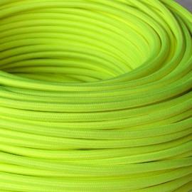 Câble textile jaune fluo 2x0.75mm² - Falbala-luminaires