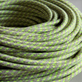 CABLE TEXTILE LIN SPIRALE JAUNE FLUO
