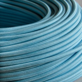 Câble textile bleu ciel 2x0.75mm² - Falbala-luminaires