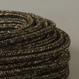 CABLE TEXTILE PAILLETTES NOIR-OR
