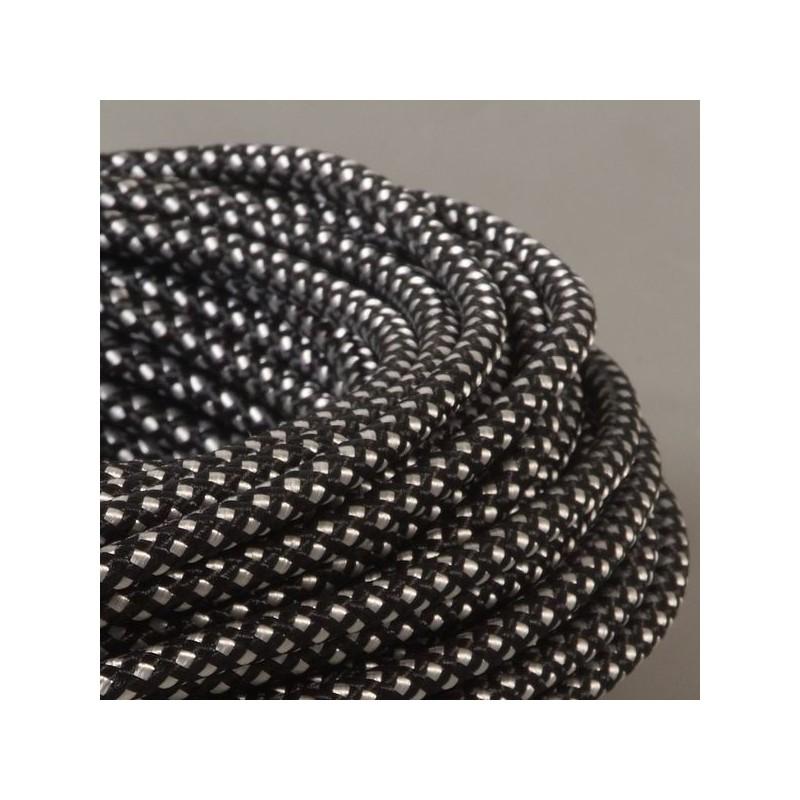cable textile damier noir et blanc. Black Bedroom Furniture Sets. Home Design Ideas