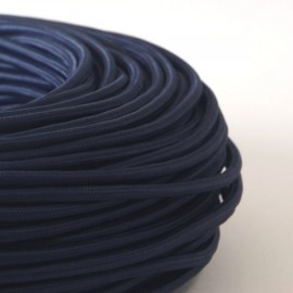 Câble textile bleu abysse 2x0.75mm² - Falbala-luminaires