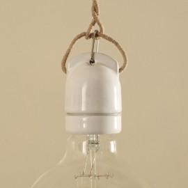 Douille E27 porcelaine suspendue blanche - Falbala luminaires