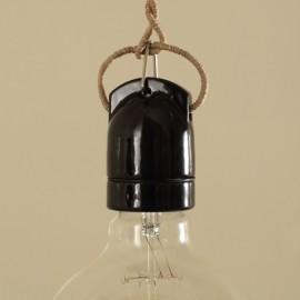 Douille E27 porcelaine suspendue noire - Falbala luminaires