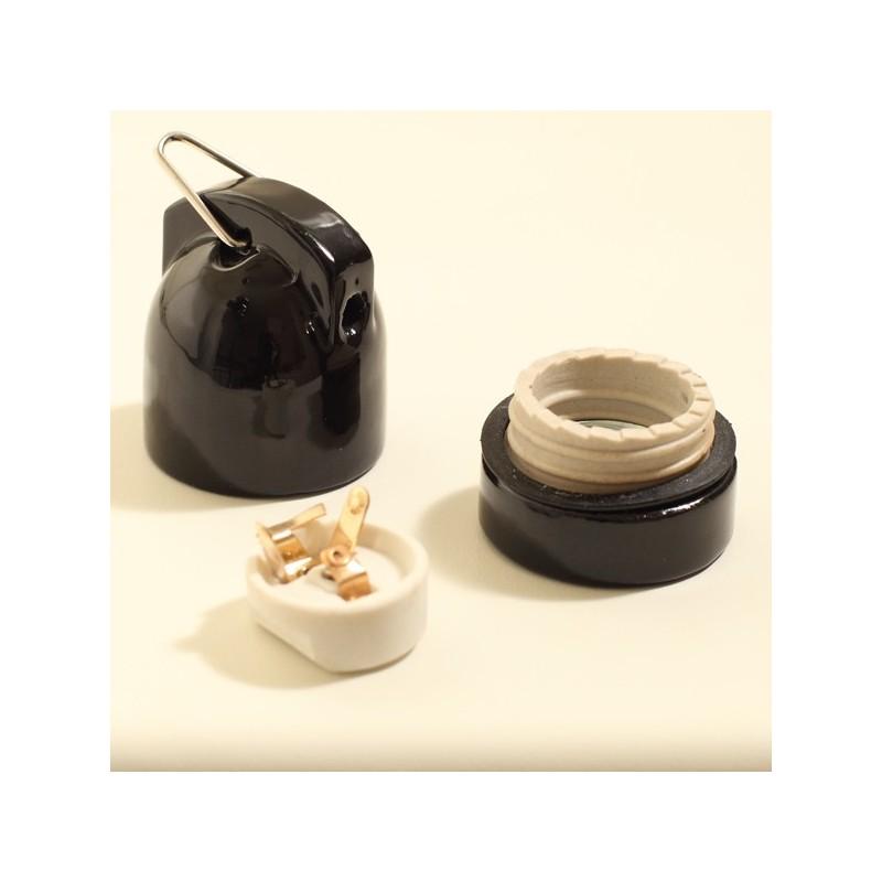 douille e27 porcelaine suspendue noire. Black Bedroom Furniture Sets. Home Design Ideas