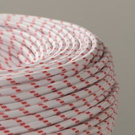 CABLE TEXTILE ROUGE-BLANC GROS POINTS