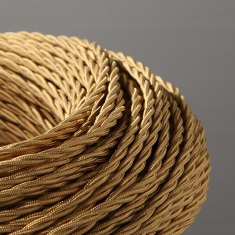Câble textile torsadé 3x0.75mm² or - Falbala-luminaires