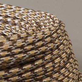 CABLE TEXTILE PIED DE POULE 3 COULEURS CHOCOLAT 3x0.75mm²