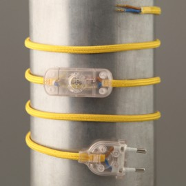 Cordon de lampe textile jaune