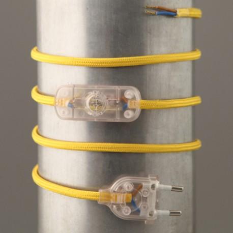 Cordon de lampe textile jaune - Falbala-luminaires