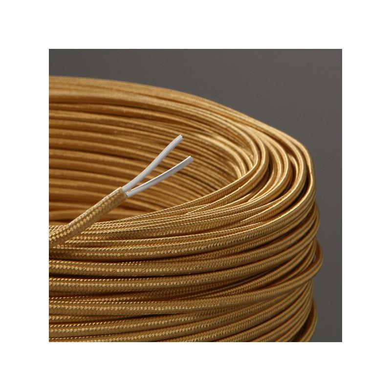 Cable textile plat vieil or - Cable electrique plat ...