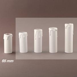 Fourreau - tube de bougie d24 blanc à gouttes - ht 65 - Falbala-luminaires