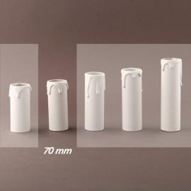 Fourreau - tube de bougie d24 blanc à gouttes - ht 70 - Falbala-luminaires
