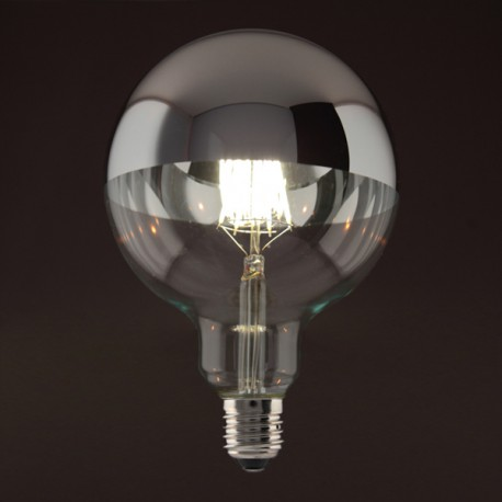 Globe calotte argentée D125 - E27 - 6W - Falbala-luminaires