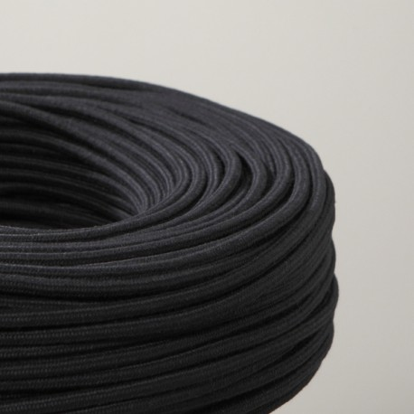 Câble textile coton noir 2x0.75mm² - Falbala-luminaires