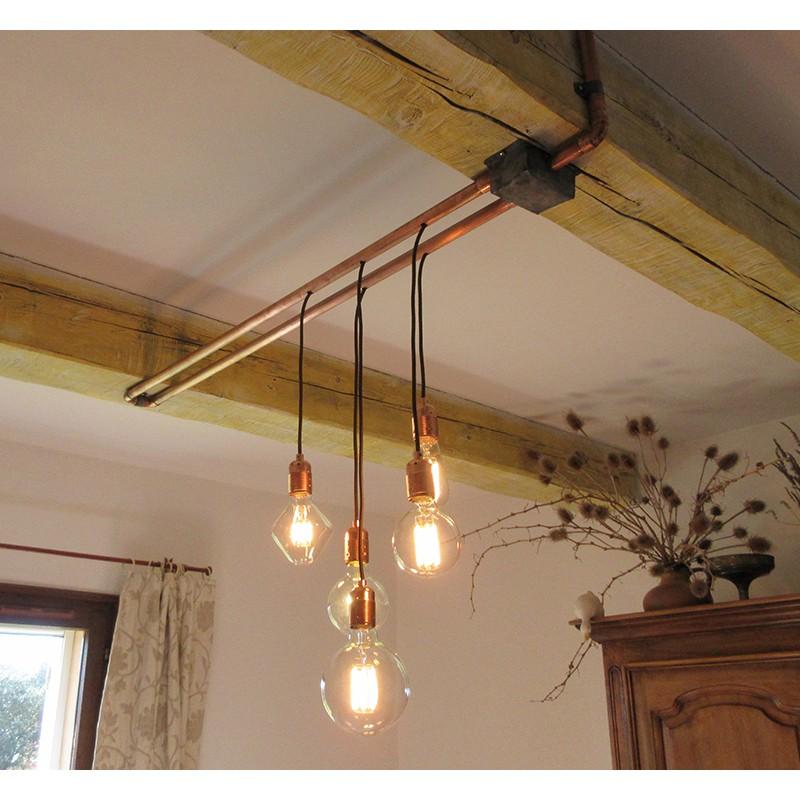 Une suspension cuivree par alain falbala luminaires for Suspension electrique